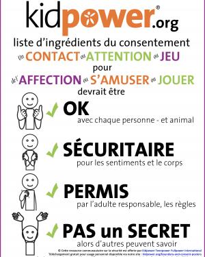 Affiche de la Recette Kidpower du Consentement
