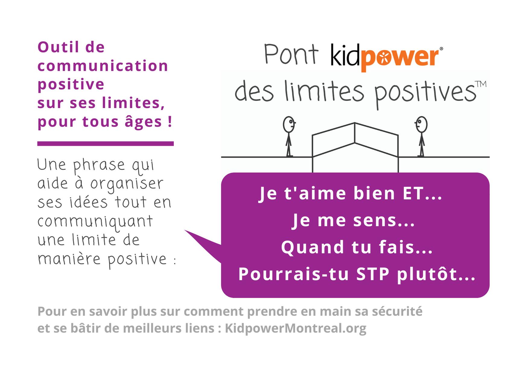 Affiche : Pont Kidpower des limites positives