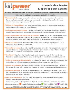 Photo du feuillet de conseils Kidpower pour parents