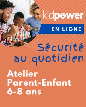 2 adultes et 1 enfant regarde un écran en ayant du plaisir. Fond orange. Atelier Kidpower Sécurité Au Quotidien pour parent et enfant de 6 à 8 ans