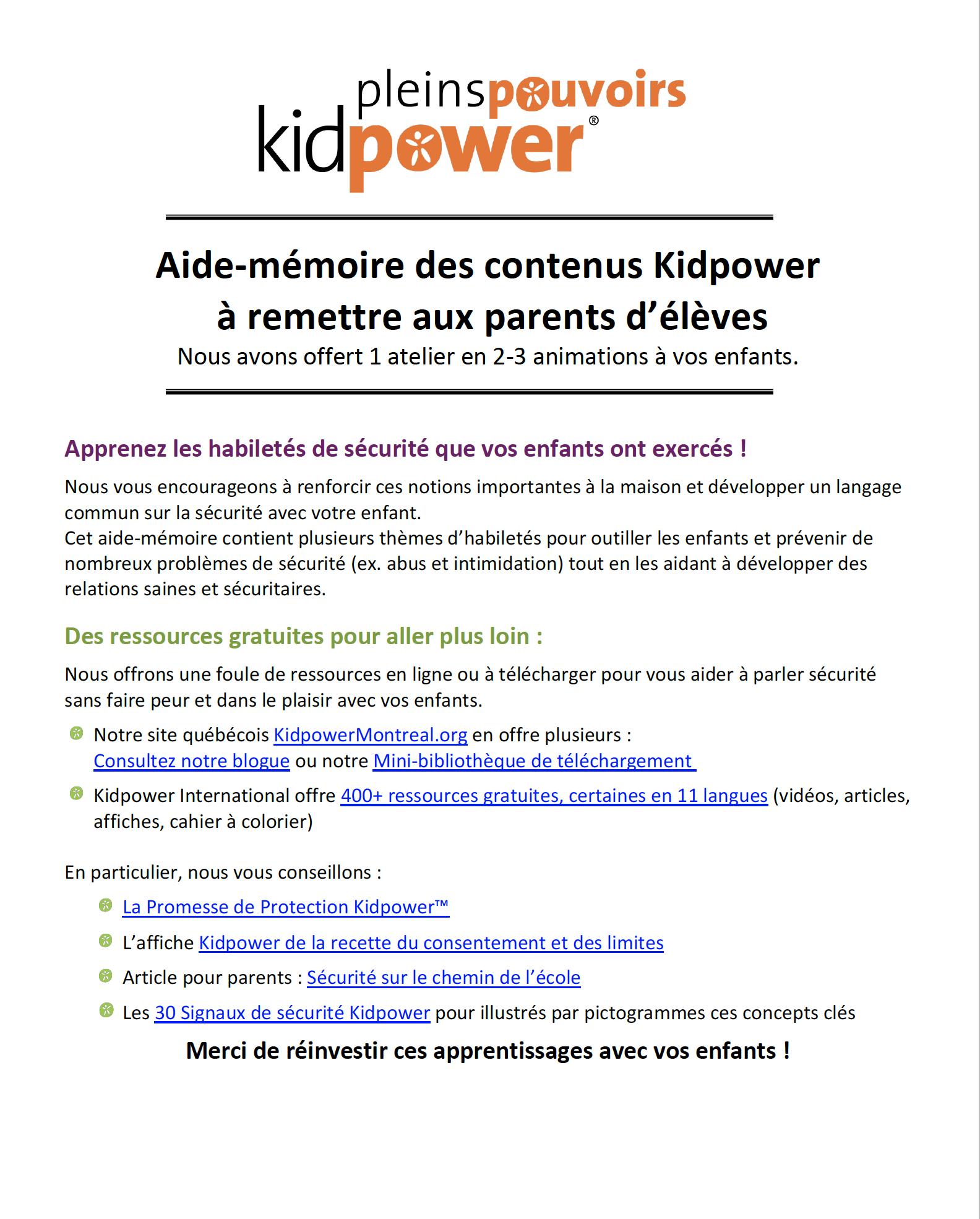 Protégé : Mini aide-mémoire pour parents du primaire